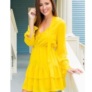 BB Dakota 9 To 5 Chiffon Tie Neck Dress Mimosa M